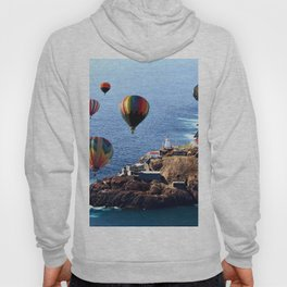 Flying Colorful Hot air Balloons over Newfoundland Hoody