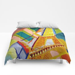 "Robert Delaunay ""Tour Eiffel"" Comforters"