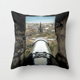 scott monument from Edinburgh castle gun Scotland Throw Pillow