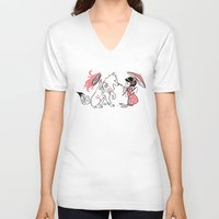 okami V-neck T-shirts featuring Painting with Okami by Miski