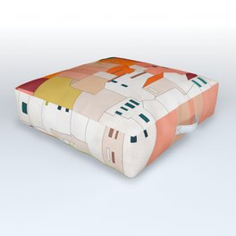 italy coast houses minimal abstract painting Outdoor Floor Cushion