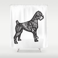 boxer Shower Curtains featuring Boxer by creative.court