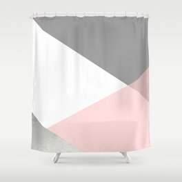 Geometrics - grey blush silver Shower Curtain