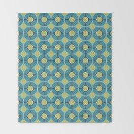 Geometric Circle Pattern Mid Century Modern Retro Blue Green Throw Blanket