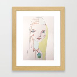 The Girl with the Cupcake for a Heart Framed Art Print