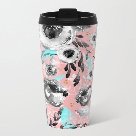 blooms flowers black and white Metal Travel Mug