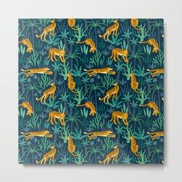 Elegant big cats in the jungle tiger print Metal Print