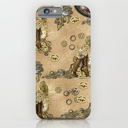 Steampunk Boots Sculptures and Hats on Tan Leather Texture iPhone Case