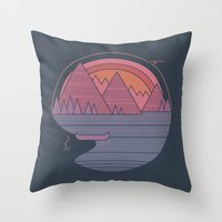 the mountains are calling Throw Pillows featuring The Mountains are Calling by Rick Crane