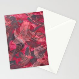 Impetuous, Abstract Art Painting Red Copper Gray Stationery Cards