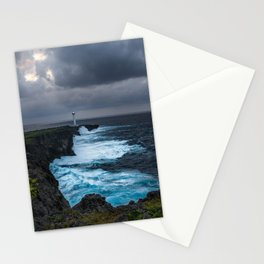 Storm Brewing Over the Cape Zanpa Lighthouse Stationery Cards