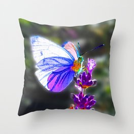Butterfly on the Lavender Throw Pillow