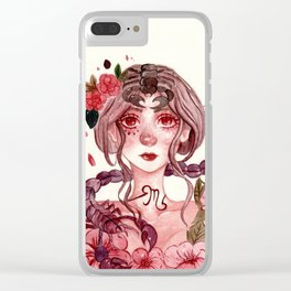 Zodiac sign- Scorpio Watercolor paint Clear iPhone Case