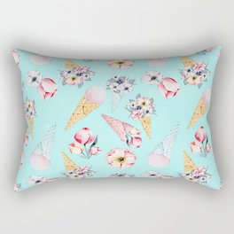 Pink & Teal Summer Fun Flower Ice Cream Cone - Pattern Rectangular Pillow