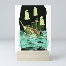 ghost pirate boat Mini Art Print