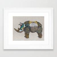 rhino Framed Art Prints featuring Rhino by farah allegue