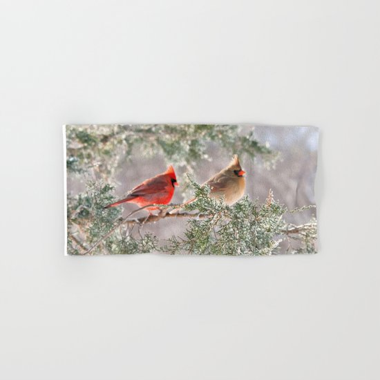 Hoarfrost Cardinals Hand & Bath Towel