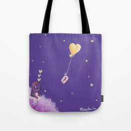 Penguin Sends Love Letter with Heart Balloon to Friend Across Starry Sky Tote Bag