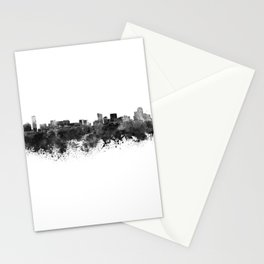 Grand Rapids skyline in black watercolor Stationery Cards