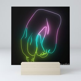 Large Foreskin Hanging Around - Neon Mini Art Print