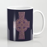 celtic Mugs featuring Celtic Cross by pakowacz