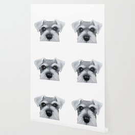 Schnauzer Grey&white, Dog illustration original painting print Wallpaper