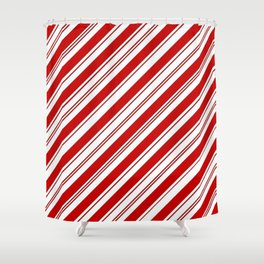 Winter Holiday Xmas Red White Striped Peppermint Candy Cane Shower Curtain