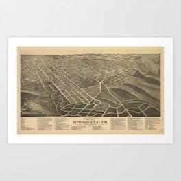 Vintage Pictorial Map of Winston-Salem NC (1891) Art Print