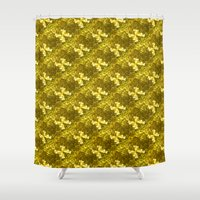 bows Shower Curtains featuring Golden Bows  by Elena Indolfi