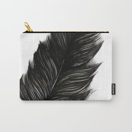 Psalm 91:4 Black Feather Carry-All Pouch