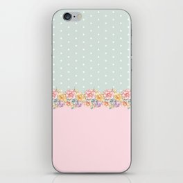 Vintage green pastel pink yellow floral polka dots iPhone Skin