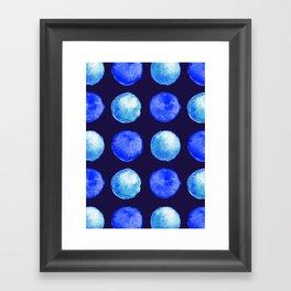 Winter Blue Watercolor Large Dots Pattern Framed Art Print