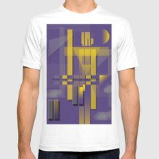 Purple Slices Yellow MEDIUM White Mens Fitted Tee