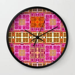 Vintage Geometric Abstract Quilt Pink and Mustard Wall Clock