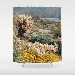 Arizona Mountain Poppies Shower Curtain