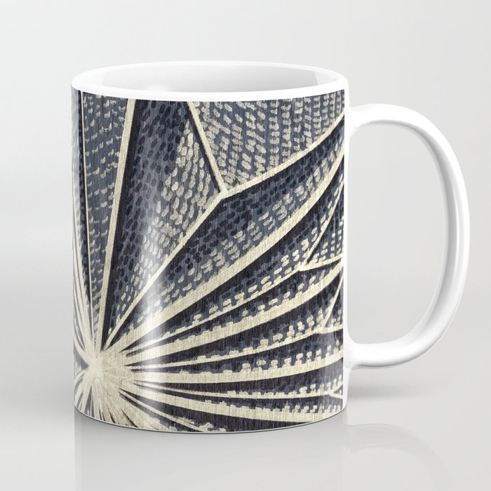 Geometric Pattern on Wood, Gold Lines, Rise Detail Coffee Mug