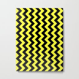 Black and Electric Yellow Vertical Zigzags Metal Print
