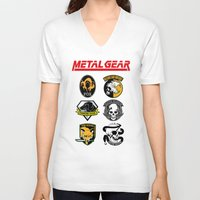 metal gear V-neck T-shirts featuring Metal Gear by Khaled