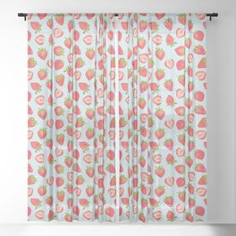 English Strawberries on Mint Sheer Curtain