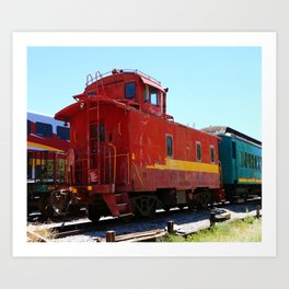 Red Fright Train Caboose Art Print