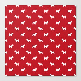 West Highland Terrier dog pattern minimal dog lover gifts red and white Canvas Print