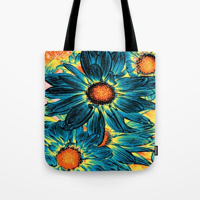 Pop Art Daisies Teal Orange Yellow Tote Bag