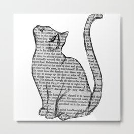 Cat reading itself cute book sticker Metal Print