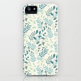 Leaves Teal Green Pattern iPhone Case