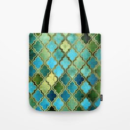 Moroccan Quatrafoil Pattern, Vintage Stained Glass, Blue, Green and Gold Tote Bag
