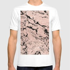 Modern faux rose gold glitter black marble MEDIUM Mens Fitted Tee White