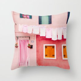 Laundry Day in Burano Italy Throw Pillow