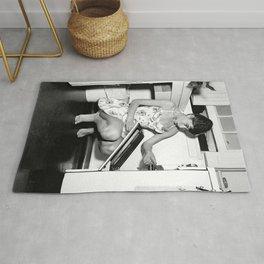 Audrey Hepburn in Kitchen, Black and White Vintage Art Rug