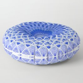 Mandala in blue and white colors Floor Pillow