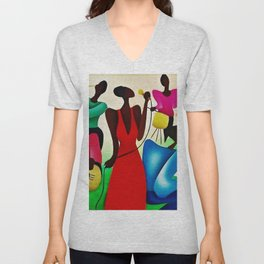 Classical African American Masterpiece 'Bourbon Street New Orleans Jazz' by Fred Blassingham Unisex V-Neck